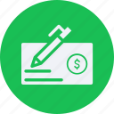 business, cash, check, currency, finance, money icon