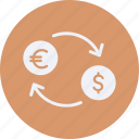 business, cash, currency, dollar, euro, exchange, finance, money icon