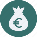 bag, business, cash, currency, euro, finance, money icon