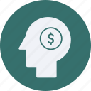 business, cash, currency, finance, head, money icon