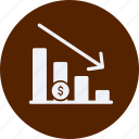 business, cash, currency, finance, loss, money icon