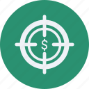 business, cash, currency, finance, money, target icon