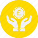 business, cash, coin, currency, euro, finance, hands, money, on icon