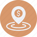business, cash, currency, finance, location, money icon