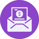 business, cash, currency, finance, mail, money icon