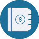 book, business, cash, currency, finance, money, note icon