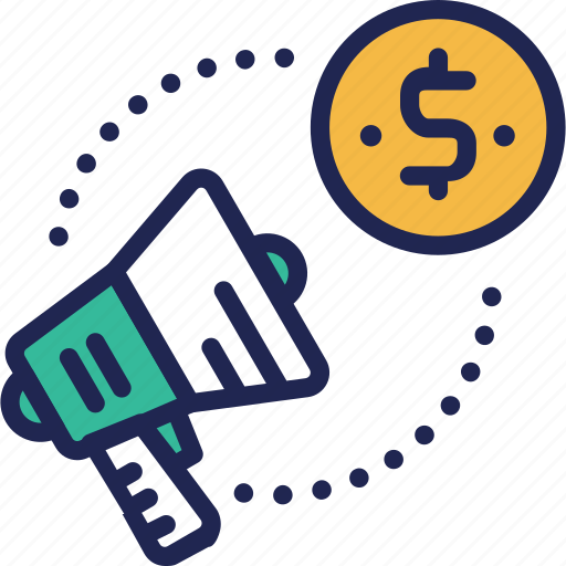 advertising, currency, dollar, exchange, megaphone, money, service icon