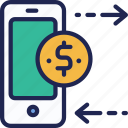 banking, currency, dollar, exchange, finance, mobile, money icon