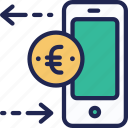 banking, currency, euro, exchange, finance, mobile, money icon