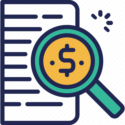 data, document, finance, fund, glass, investment, magnifying icon