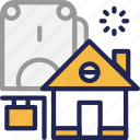 bank, estate, home, house, loan, mortgage, real icon