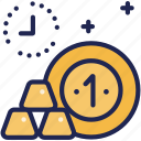 finance, fund, gold, investment, money, profit, time icon