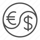 currency, dollar, euro, exchange rate, finance, yin yang icon