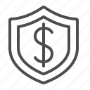 business, dollar, insurance, investment, money, security, shield icon
