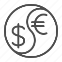 currency, dollar, euro, exchange rate, finance, money, yin yang icon