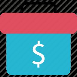 briefcase, dollar, finance, money, online, sign icon