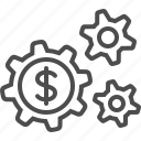business, cogs, gears, money, sprockets, transactions icon