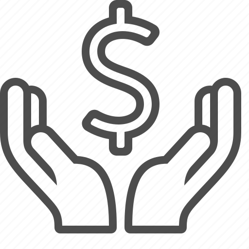 charity, dollar, donation, hands, loan, money icon