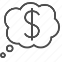business, dollar, money, thinking, thought bubble icon