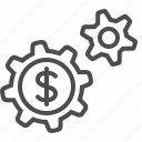 business, cogs, gears, money, transactions icon