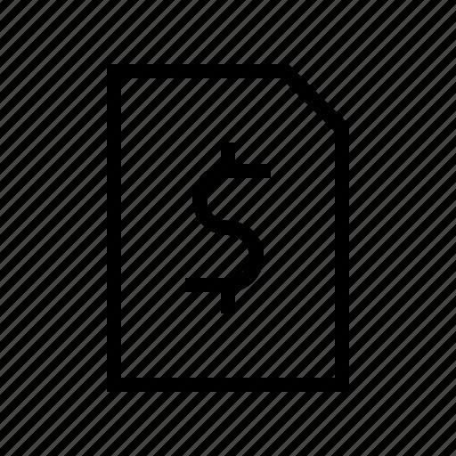 bill, cash, dollar, exchequer, finance, math, money icon