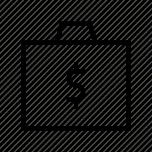 briefcase, cash, dollar, exchequer, finance, money icon