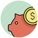 bank, cash, coin, money, pig, piggy bank, saving icon