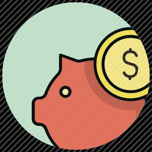 bank, cash, coin, money, pig, piggy bank, saving icon