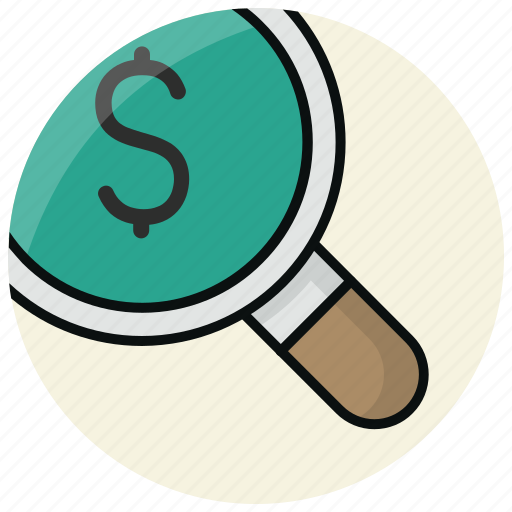 business, dollar, finance, invest, money, search icon