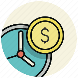 business, clock, coins, finance, money, time icon