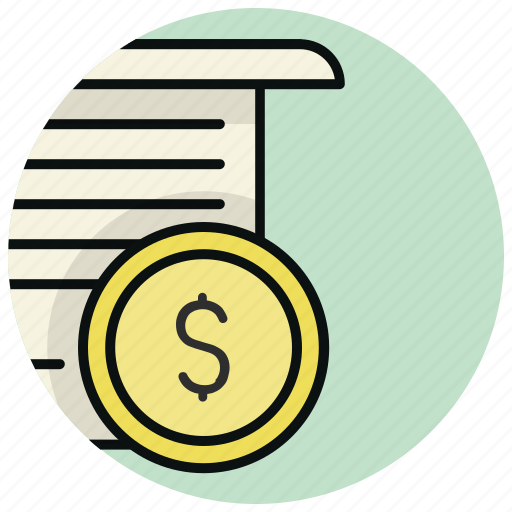 bill, document, file, money, page icon