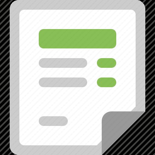 data, document, invoice, receipt, sheet icon