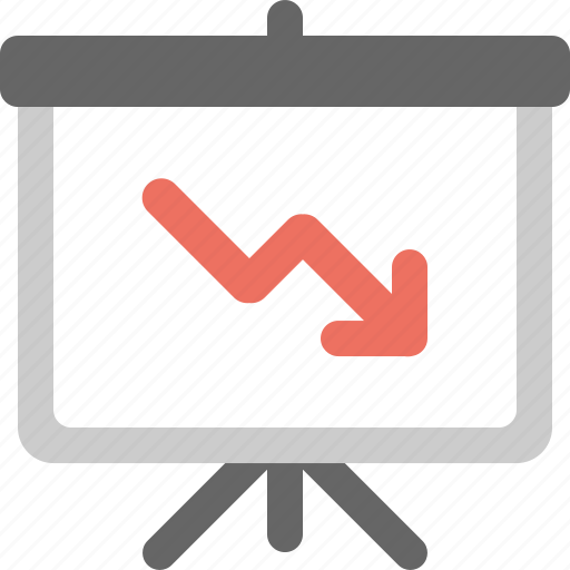 analysis, bearish, chart, down, presentation icon