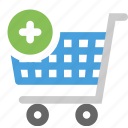 add, buy, cart, plus, trolley icon