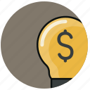 bulb, dollar, finance, financial, idea, light, money icon