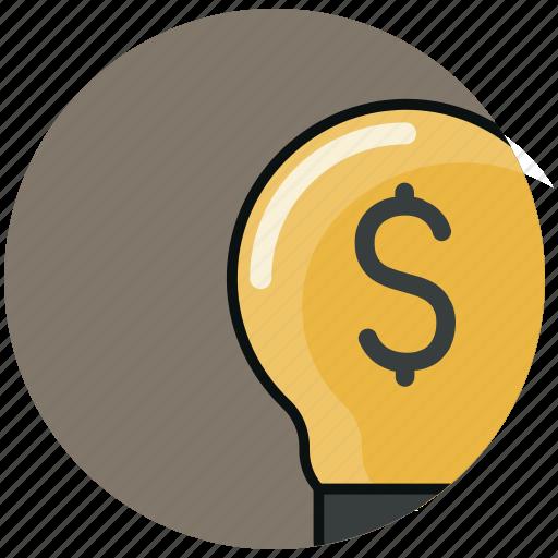 bulb, dollar, finance, financial, idea, light, money icon