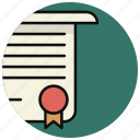 certificate, contract, degree, diploma, document, license icon