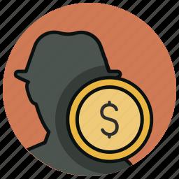 black money, finance, illegal money, informal money, money, theft, thief icon