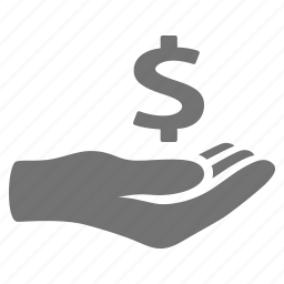 donation, finance, hand, handout, loan, money, pay icon