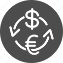 change, currency exchange, finance, payment, payments, transaction, turn over icon