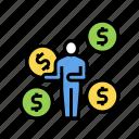 books, businessman, coins, exchange, investment, money