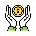 coin, education, hands, holding, investment, working icon
