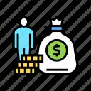 bag, coin, education, heap, human, money icon