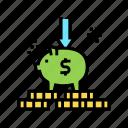 bank, education, investment, money, piggy, put icon