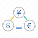 arrow, chart, dollar, euro, exchange, fiannce, yen icon