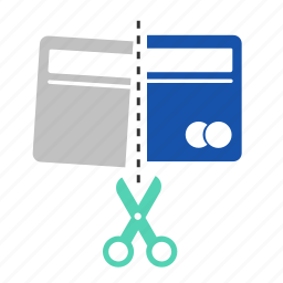 cancle, card, cash, credit card, cut, finance, money icon