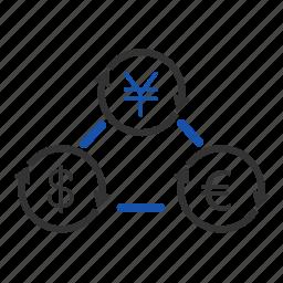 arrow, dollar, euro, exchange, financial, money, yen icon
