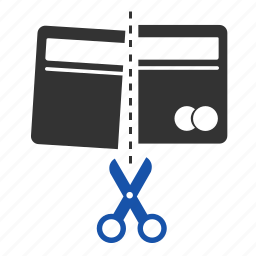 card, cash, credit card, cut, finance, money, payment icon