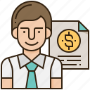 banking, businessman, financial, loan, report icon