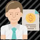 banking, businessman, financial, loan, report icon